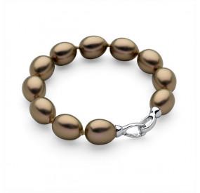 Bransoletka kolor złoty-antyczny perła 12 x 15 mm