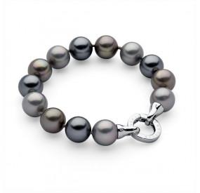 Bransoletka kolor grafitowy srebrny perła 12 mm