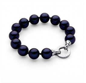 Bransoletka kolor granatowy perła 12 mm