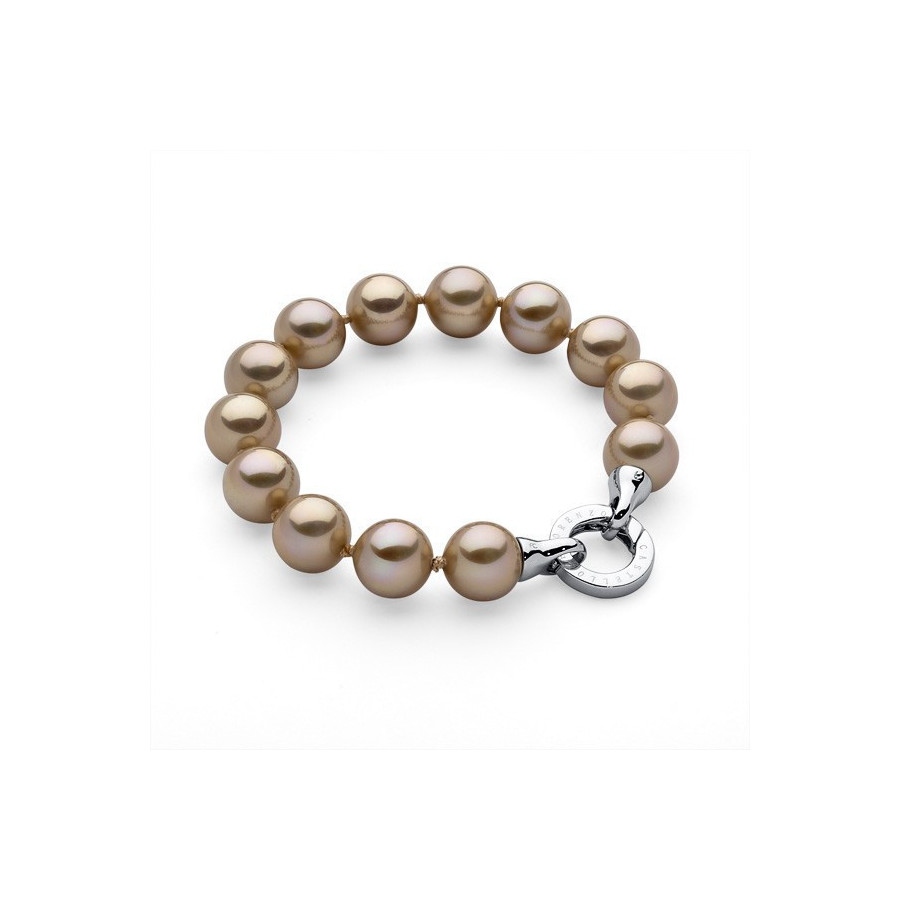 Bransoletka kolor złoty perła 12 mm