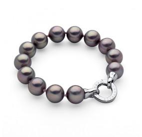 Bransoletka kolor fioletowy-wrzosowy perła 12 mm