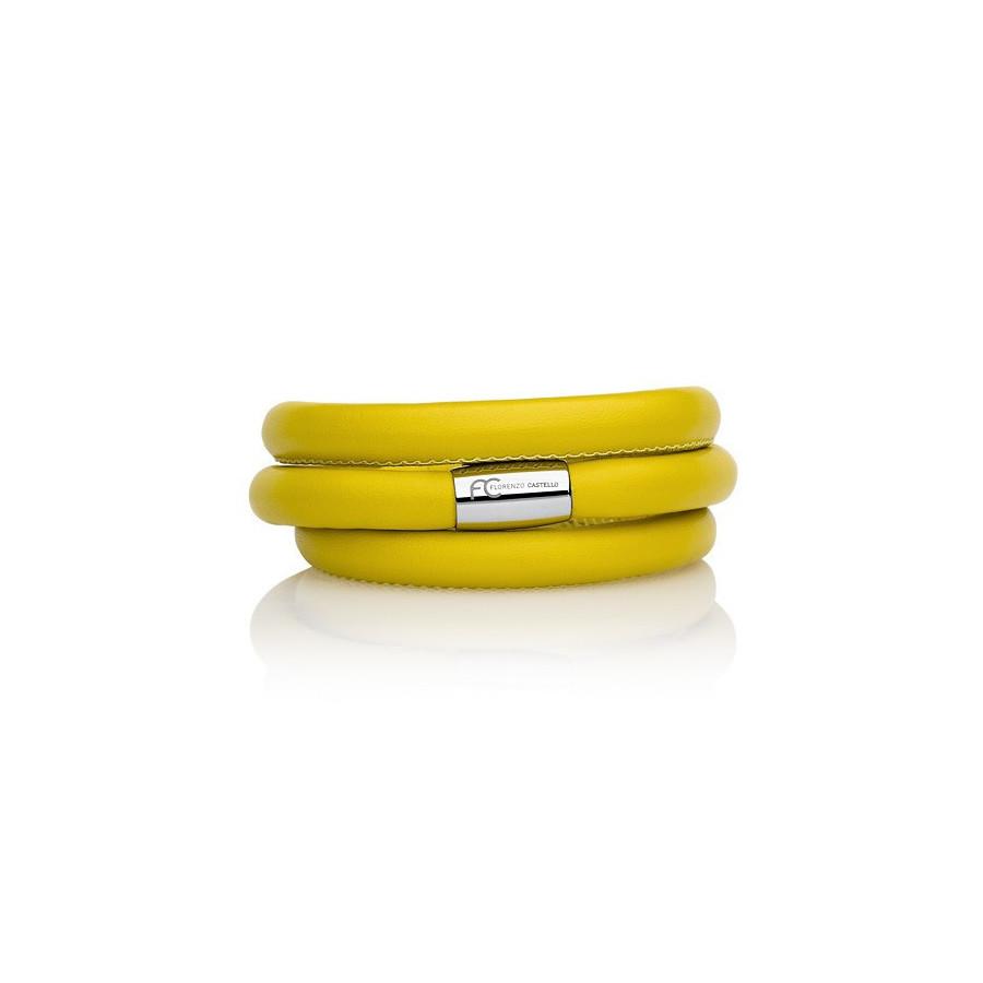 Bransoletka kolor żółty skóra 8 mm