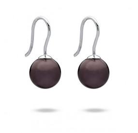 Kolczyki kolor fioletowy-śliwkowy perła 10 mm