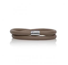 Bransoletka kolor beżowy-ciemny skóra 6 mm