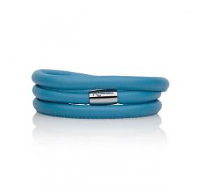 Bransoletka kolor turkusowy-niebieski skóra 6 mm