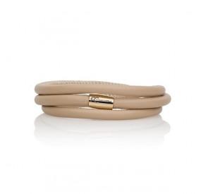 Bransoletka kolor beżowy-jasny skóra 5 mm