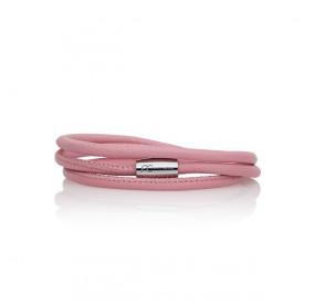 Bransoletka kolor różowy-jasny skóra 2,5 mm