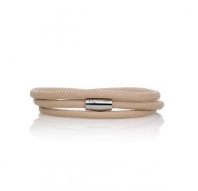 Bransoletka kolor beżowy-jasny skóra 2,5 mm