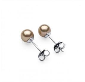 Kolczyki kolor złoty perła 6 mm