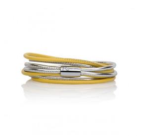 Bransoletka kolor żółty srebrny skóra 2,5 mm