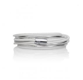 Bransoletka kolor biały srebrny skóra 2,5 mm