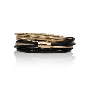 Bransoletka kolor czarny złoty skóra 2,5 mm
