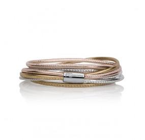 Bransoletka kolor różowy srebrny skóra 2,5 mm