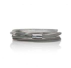 Bransoletka kolor srebrny-jasny srebrny skóra 2,5 mm