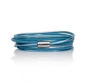 Bransoletka kolor turkusowy-niebieski błękitny skóra 2,5 mm