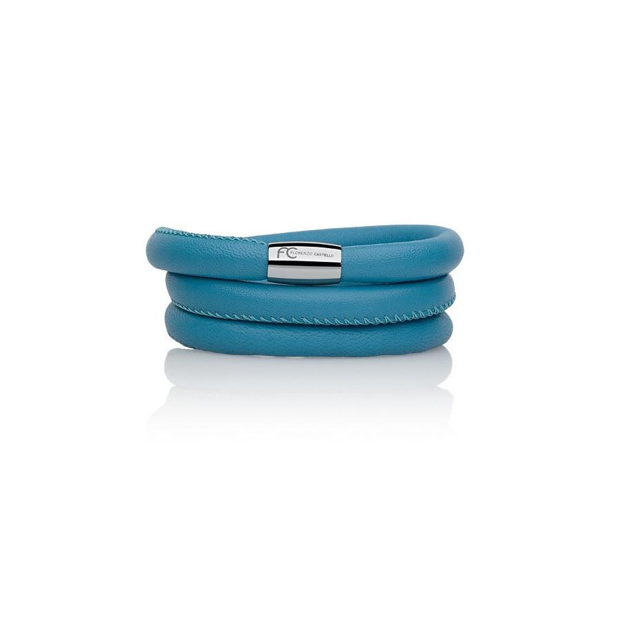 Bransoletka kolor turkusowy-niebieski skóra 8 mm