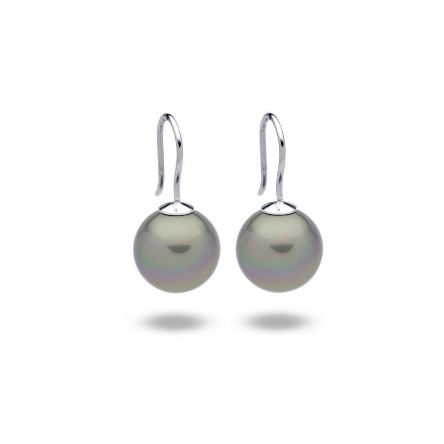 Kolczyki kolor zielony-oliwkowy perła 12 mm