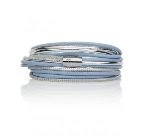 Bransoletka kolor błękitny srebrny skóra 2,5 mm