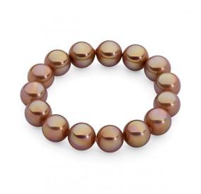 Bransoletka kolor różowy-złoty perła 12 mm