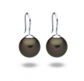 Kolczyki kolor zielony-ciemny perła 12 mm