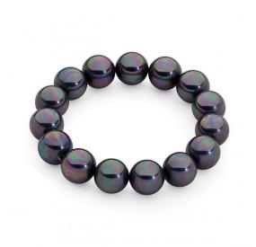 Bransoletka kolor fioletowy-benzynowy perła 12 mm