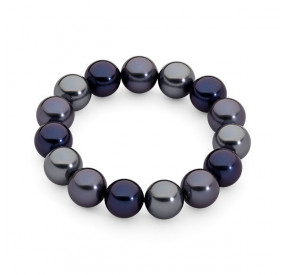 Bransoletka kolor granatowy srebrny perła 12 mm