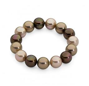 Bransoletka kolor brązowy złoty perła 12 mm