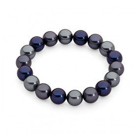 Bransoletka kolor granatowy srebrny perła 10 mm
