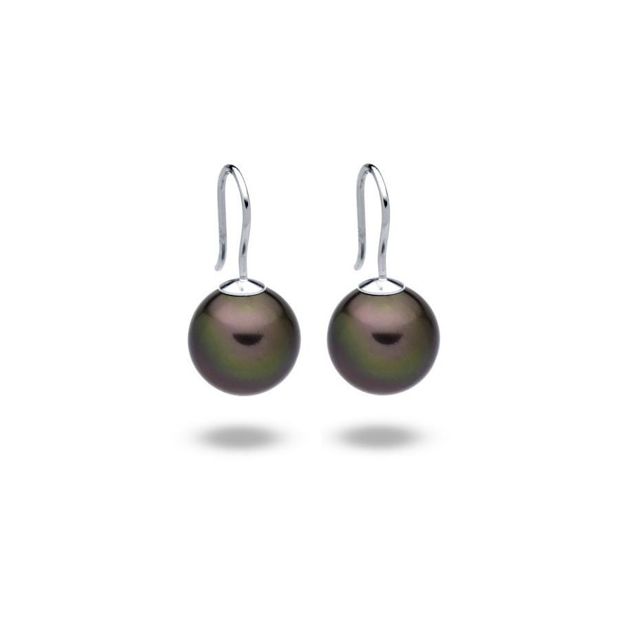 Kolczyki kolor fioletowy-śliwkowy perła 12 mm