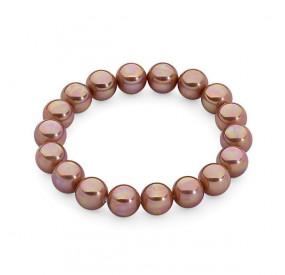 Bransoletka kolor różowy-złoty perła 10 mm