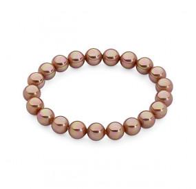 Bransoletka kolor różowy-złoty perła 8 mm