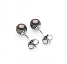 Kolczyki kolor beżowy-cappucino perła 6 mm