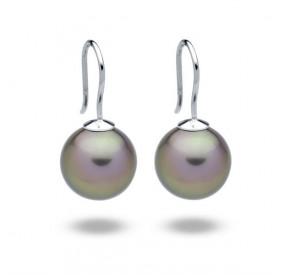 Kolczyki kolor beżowy-cappucino perła 12 mm
