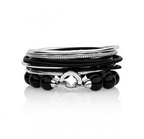 Zestaw bransoletek czarny srebrny