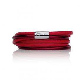 Bransoletka kolor bordowy czerwony skóra 4 mm