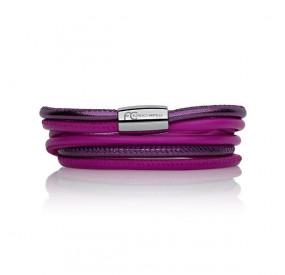 Bransoletka kolor różowy-fuksja fioletowy skóra 4 mm