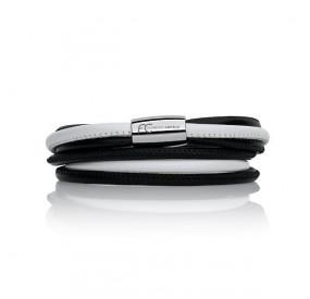 Bransoletka kolor biały czarny skóra 4 mm