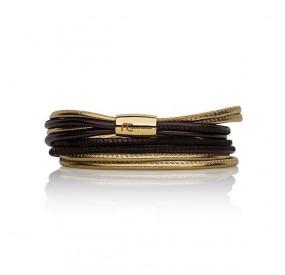 Bransoletka kolor brązowy-czekoladowy złoty skóra 2,5 mm