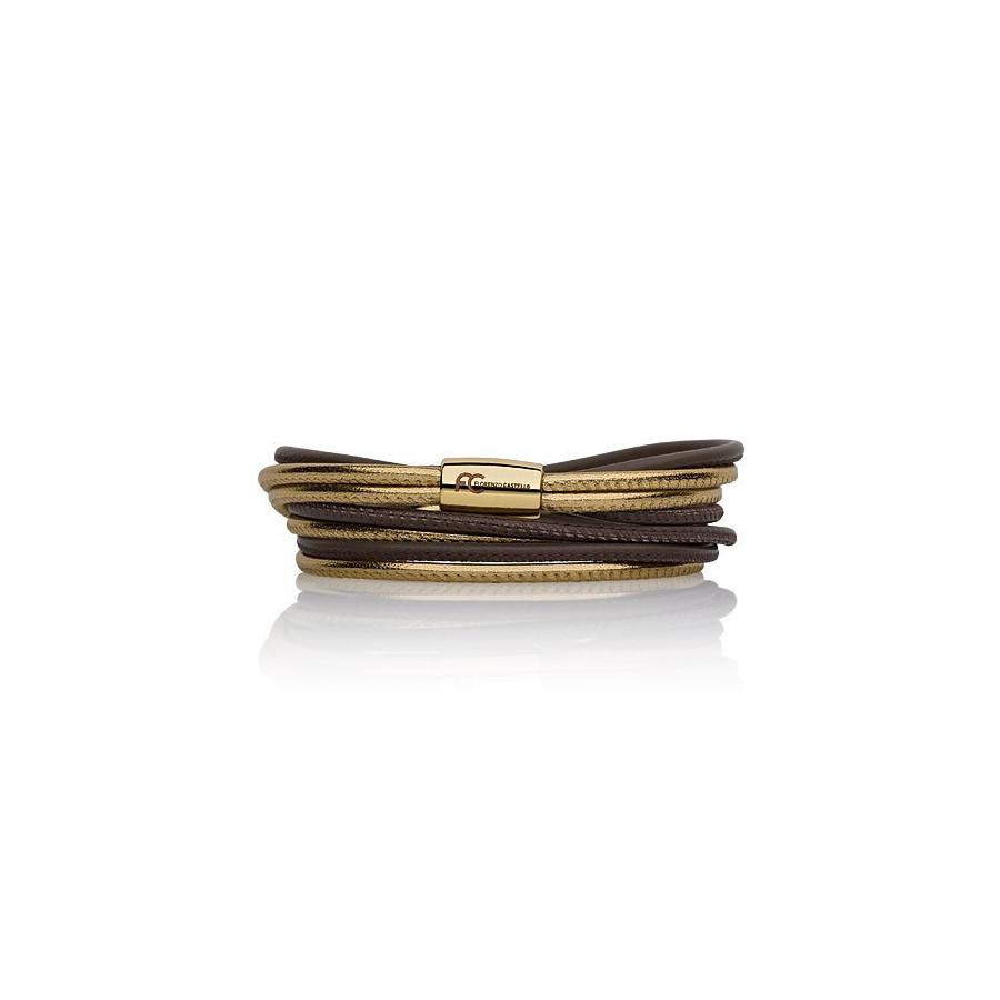 Bransoletka kolor brązowy złoty skóra 2,5 mm