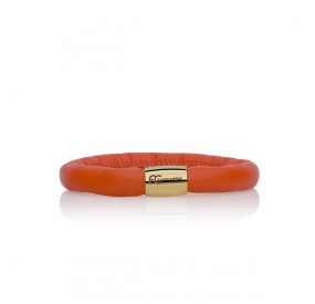 Bransoletka kolor pomarańczowy skóra 8 mm