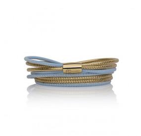 Bransoletka kolor błękitny złoty skóra 2,5 mm
