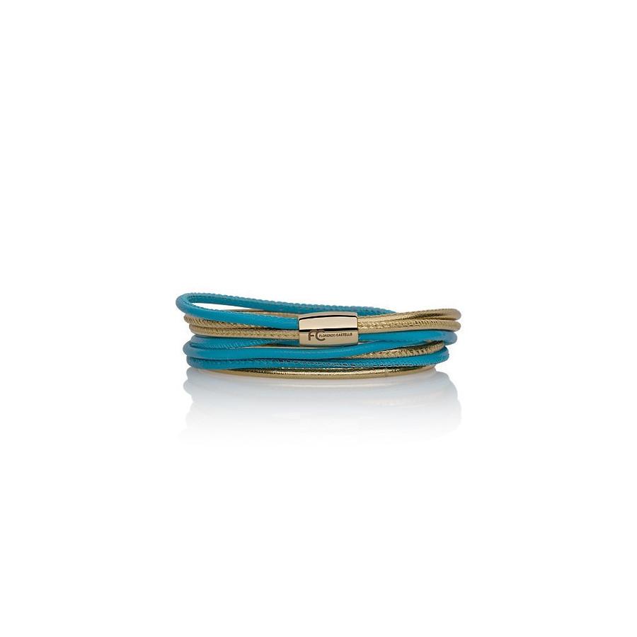 Bransoletka kolor turkusowy-niebieski złoty skóra 2,5 mm