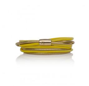 Bransoletka kolor żółty złoty skóra 2,5 mm