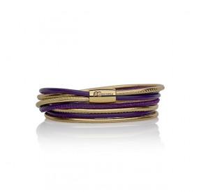 Bransoletka kolor fioletowy złoty skóra 2,5 mm