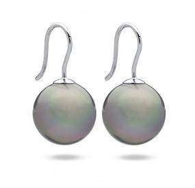 Kolczyki kolor srebrny perła 14 mm