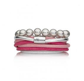 Zestaw bransoletek różowy srebrny