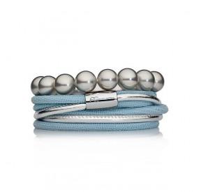 Zestaw bransoletek błękitny srebrny