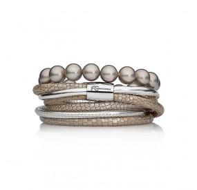 Zestaw bransoletek beżowy srebrny