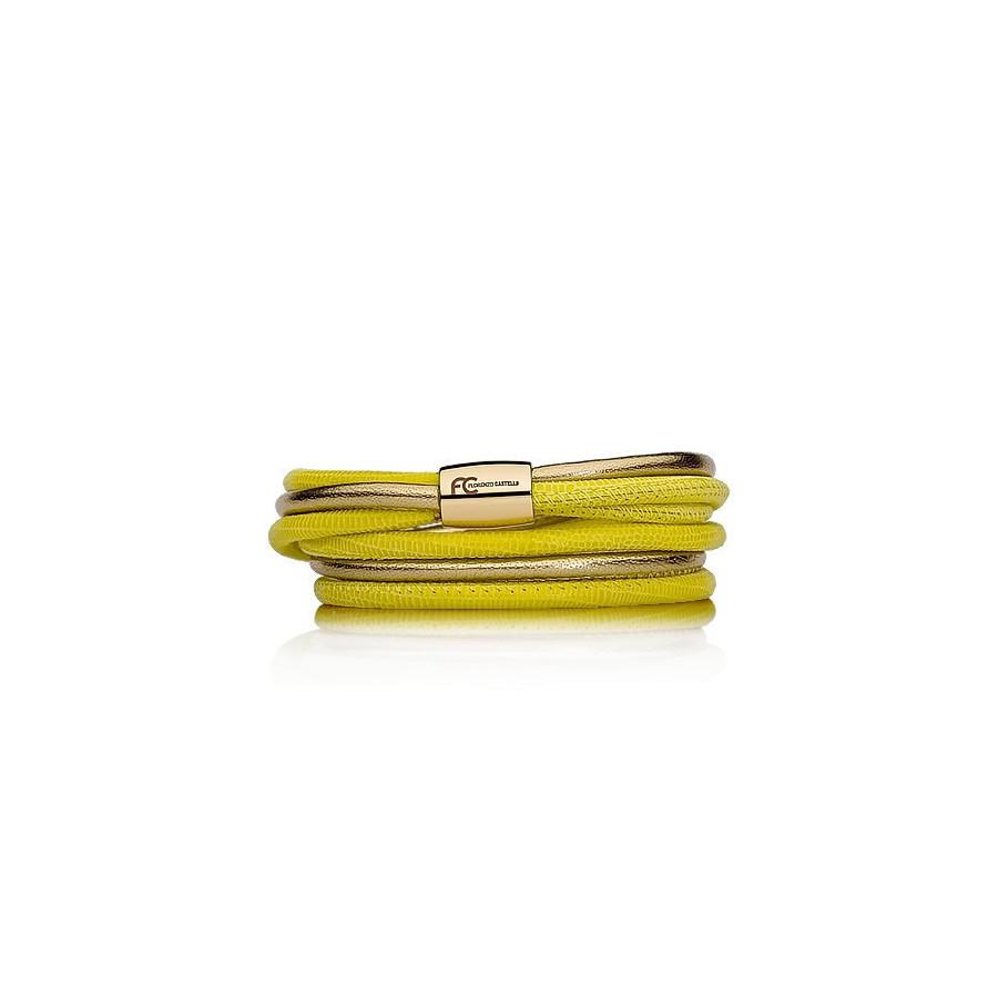 Bransoletka kolor żółty złoty skóra 4 mm