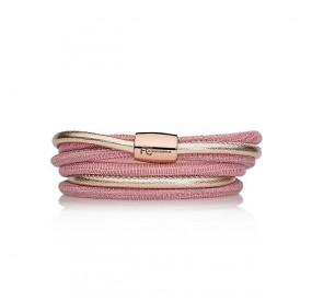 Bransoletka kolor różowy skóra 4 mm
